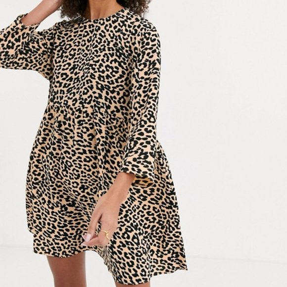 ASOS Long Sleeve Smock Mini Dress in Leopard Print